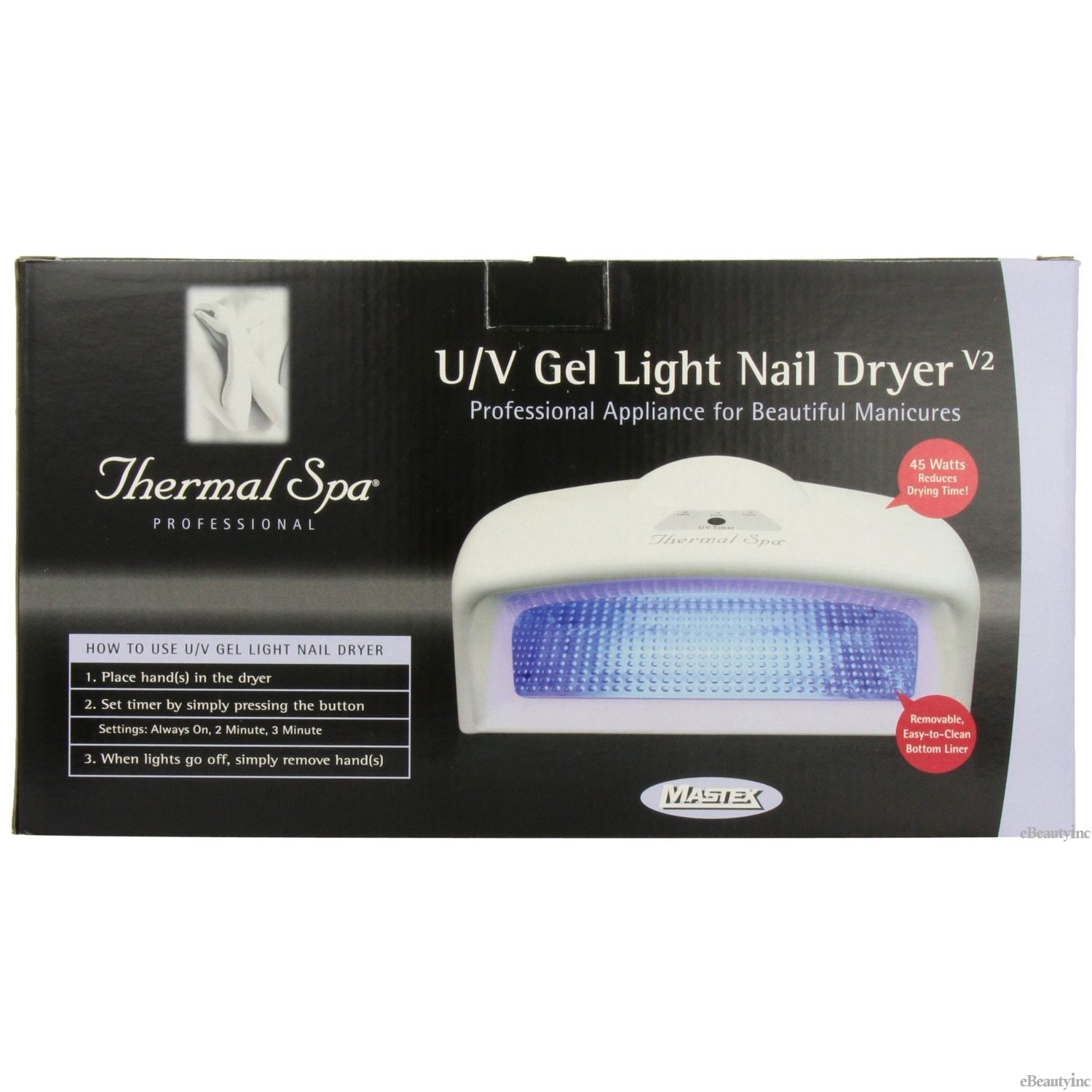 Image of Thermal Spa 45 Watts UV Auto Gel Light Nail Polish Dryer #49135