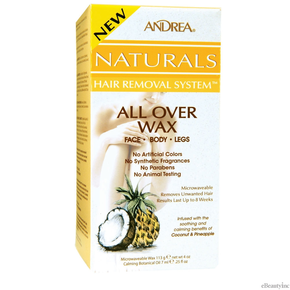 Image of Andrea Naturals Hair Removal System All Over Wax Face. Body. Legs Coconut & Pineapple - 4 oz