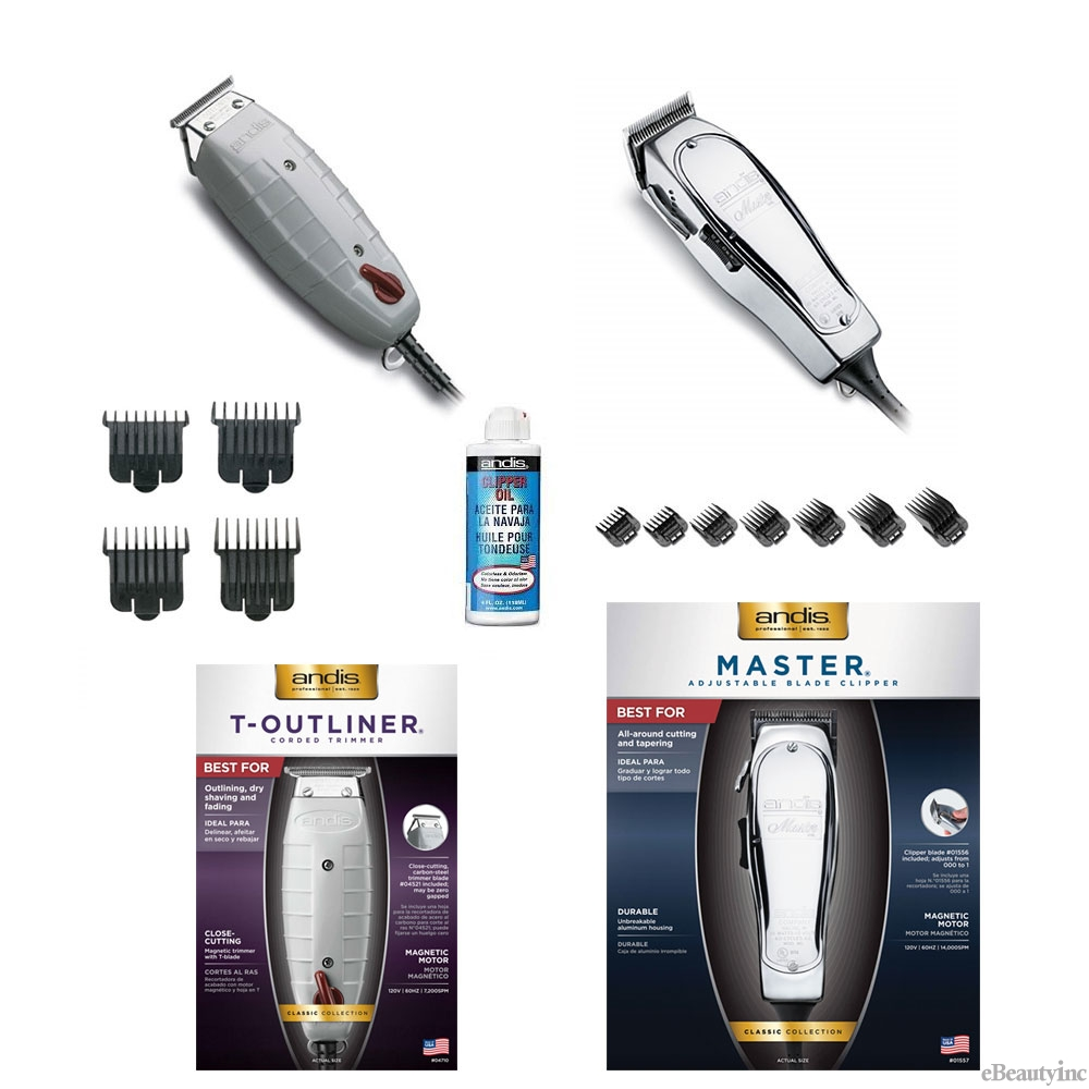 Image of Andis Master Clipper/T-Outliner Trimmer+Attachment Combs+Oil Set
