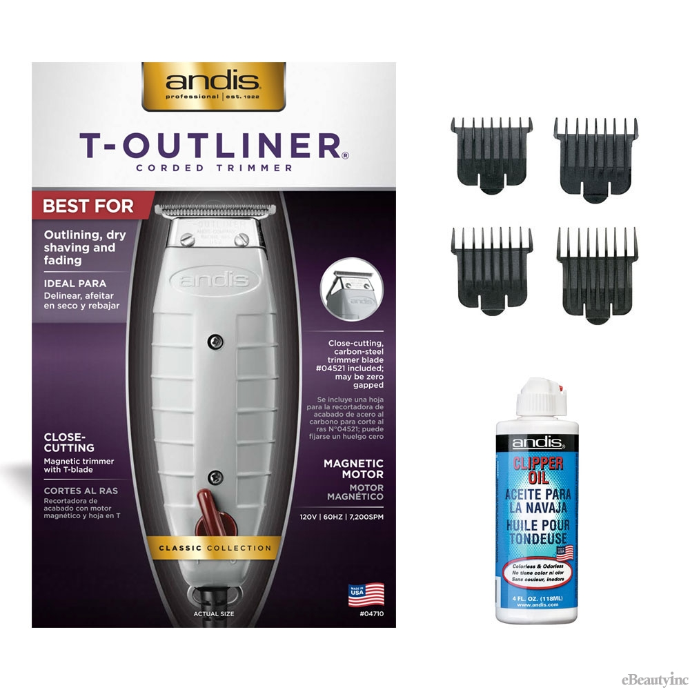 Andis T-Outliner Hair Trimmer with 4 Attachment Combs Oil Set