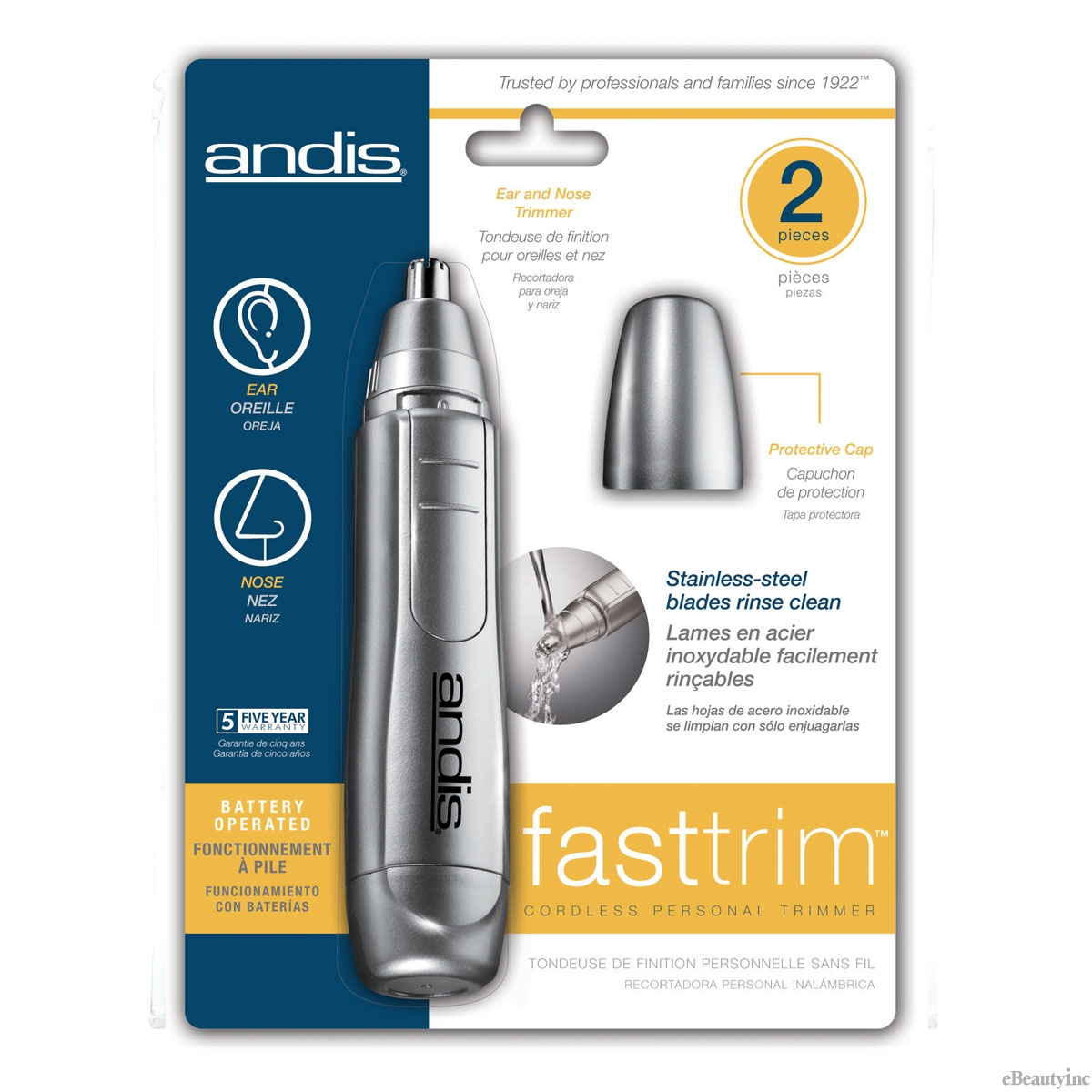Image of Andis Fast Trim Personal Trimmer for Nose Ears and Eyebrows #13430