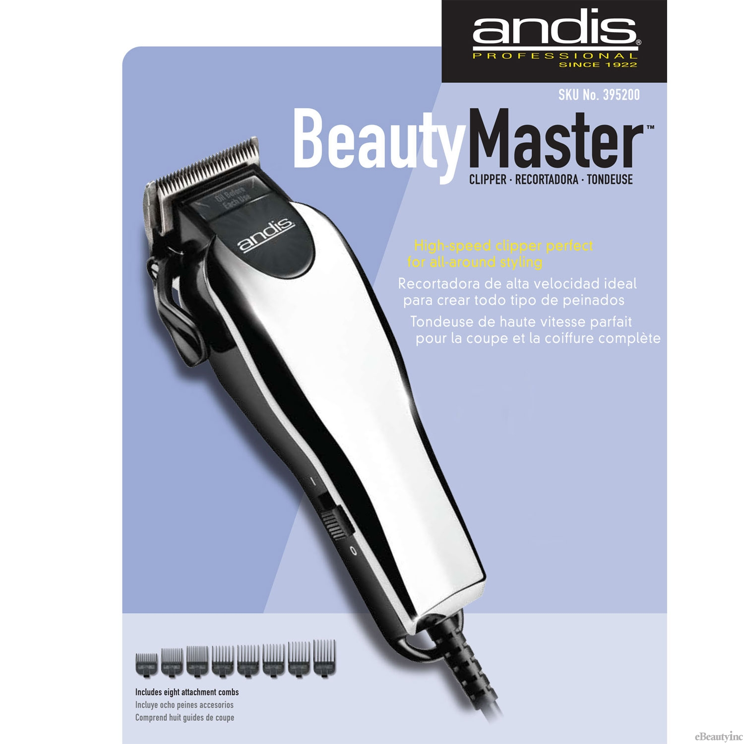 Image of Andis Beauty Master Hair clipper MA-1 with 8 Attachment Combs #19200