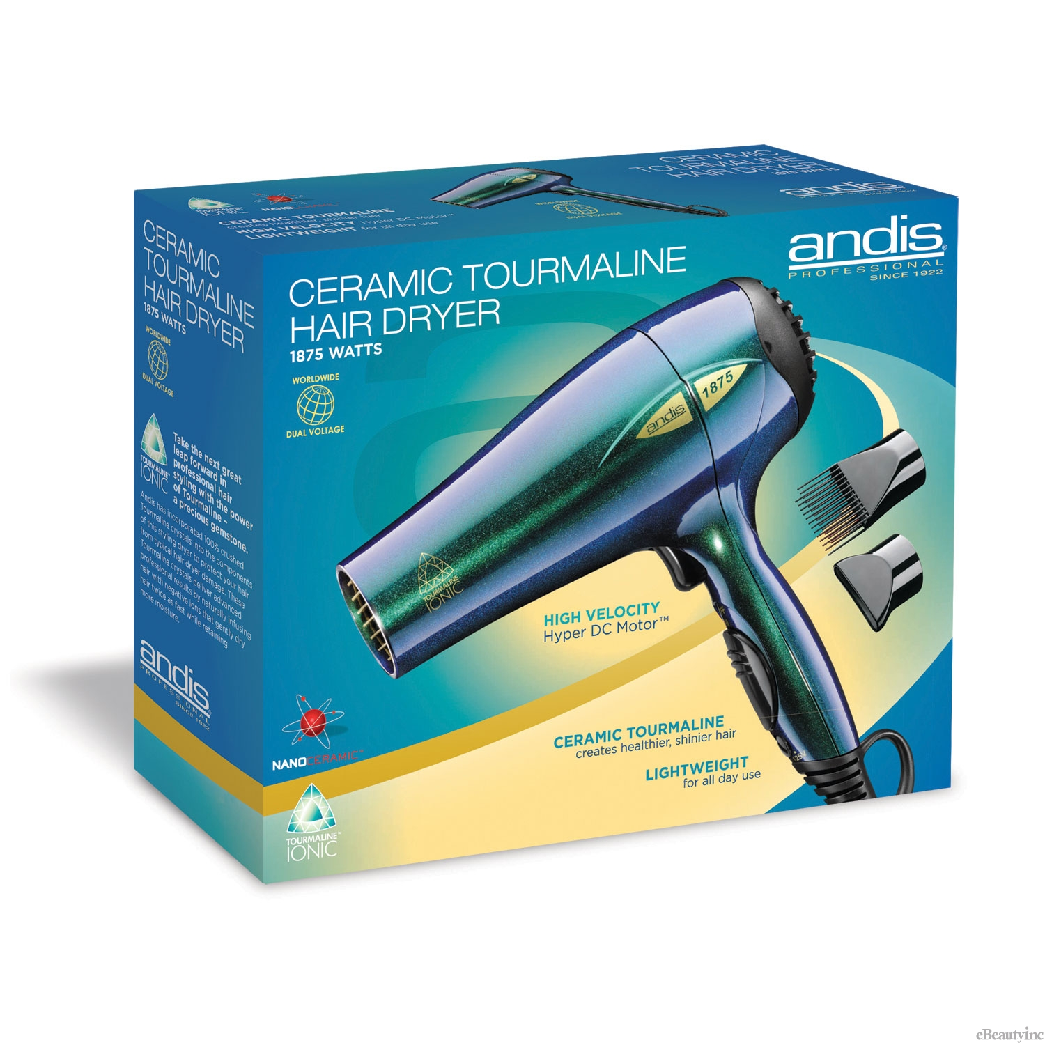 Image of Andis Ceramic Tourmaline Color Waves Hair Dryer #80415