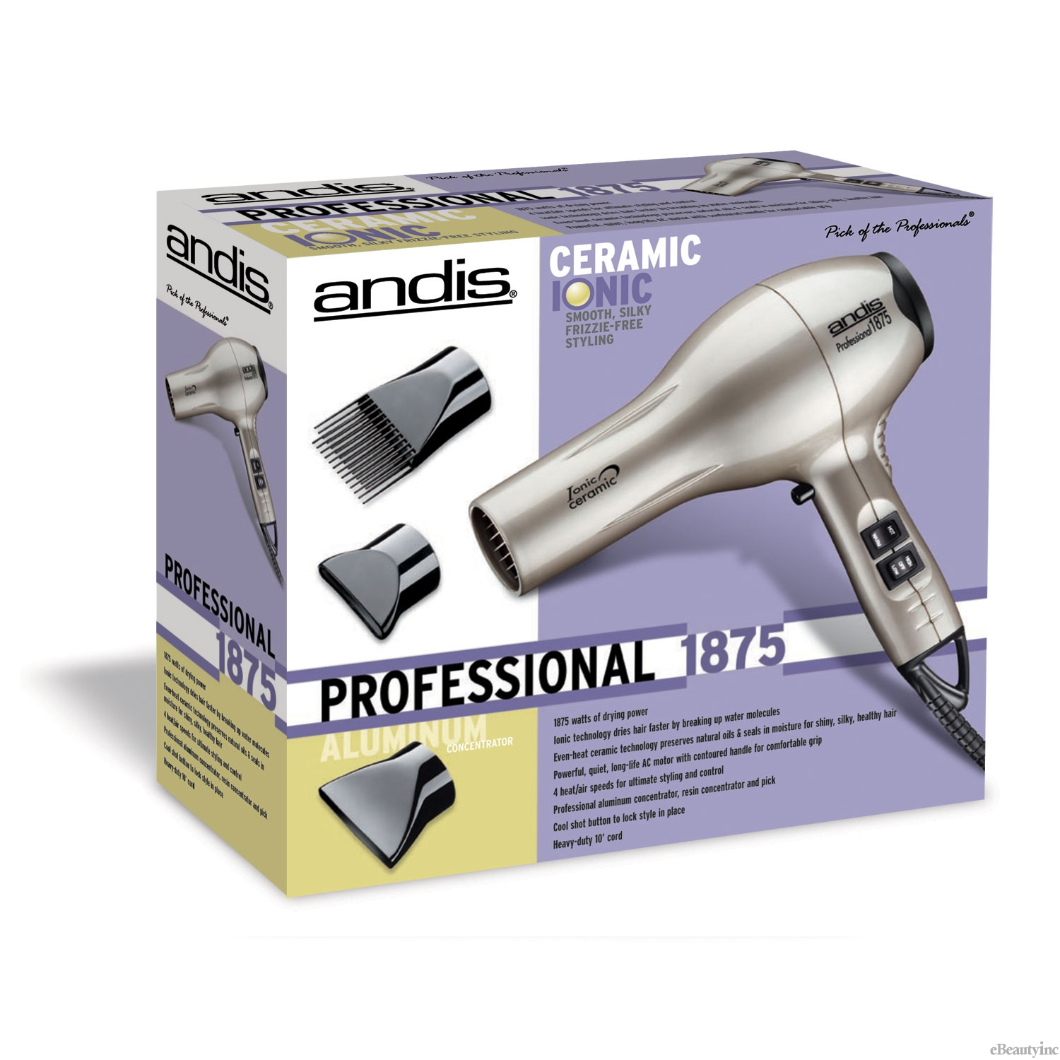 Image of Andis Pro 1875W Ceramic Ionic Platinum Hair Dryer #82310