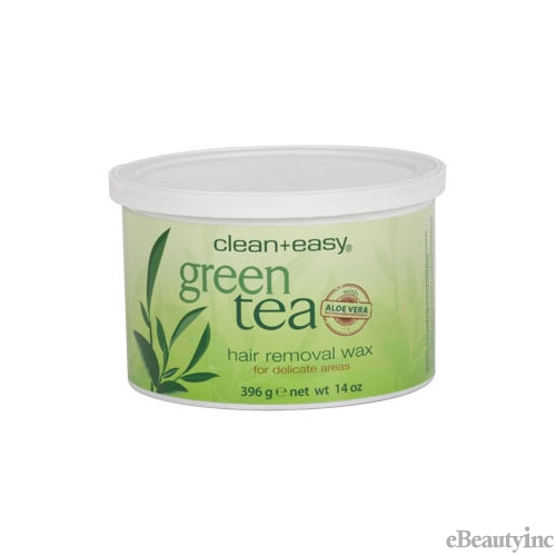 Clean + Easy Hair Removal Wax Green Tea with Aloe Vera - 14 oz