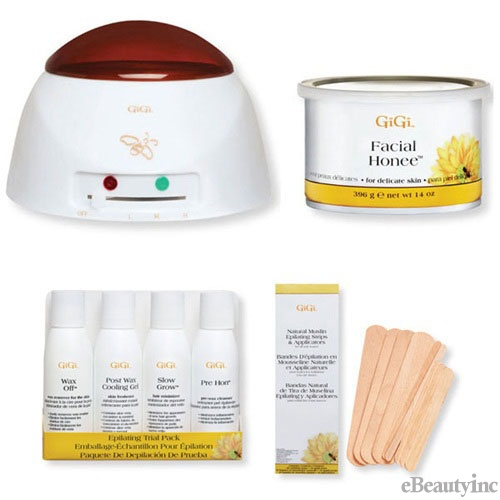 Image of GiGi Pro Facial Honee Wax Warmer Hair Removal Waxing Combo Kit