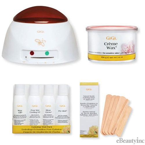 Image of GiGi Pro Creme Wax Warmer Hair Removal Waxing Combo Kit