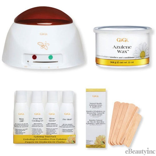 Image of GiGi Pro Azulene Wax Warmer Hair Removal Waxing Combo Kit
