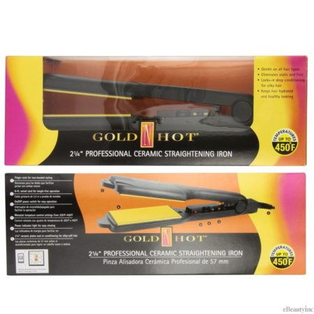 "Gold N Hot 2-1/4"" Professional Ceramic Straightening Iron #GH2145"