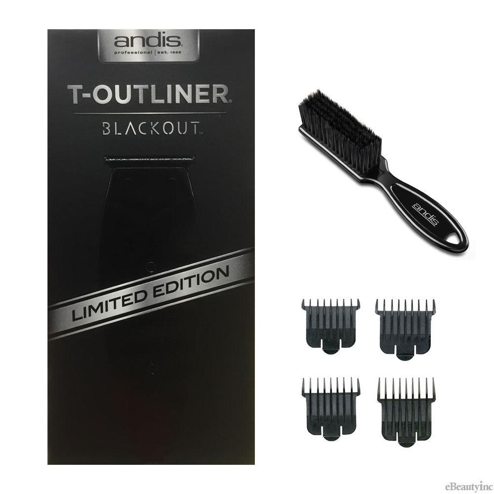 Image of Andis T-Outliner Blackout Trimmer #05110 w/ 4 attachment Combs & Brush