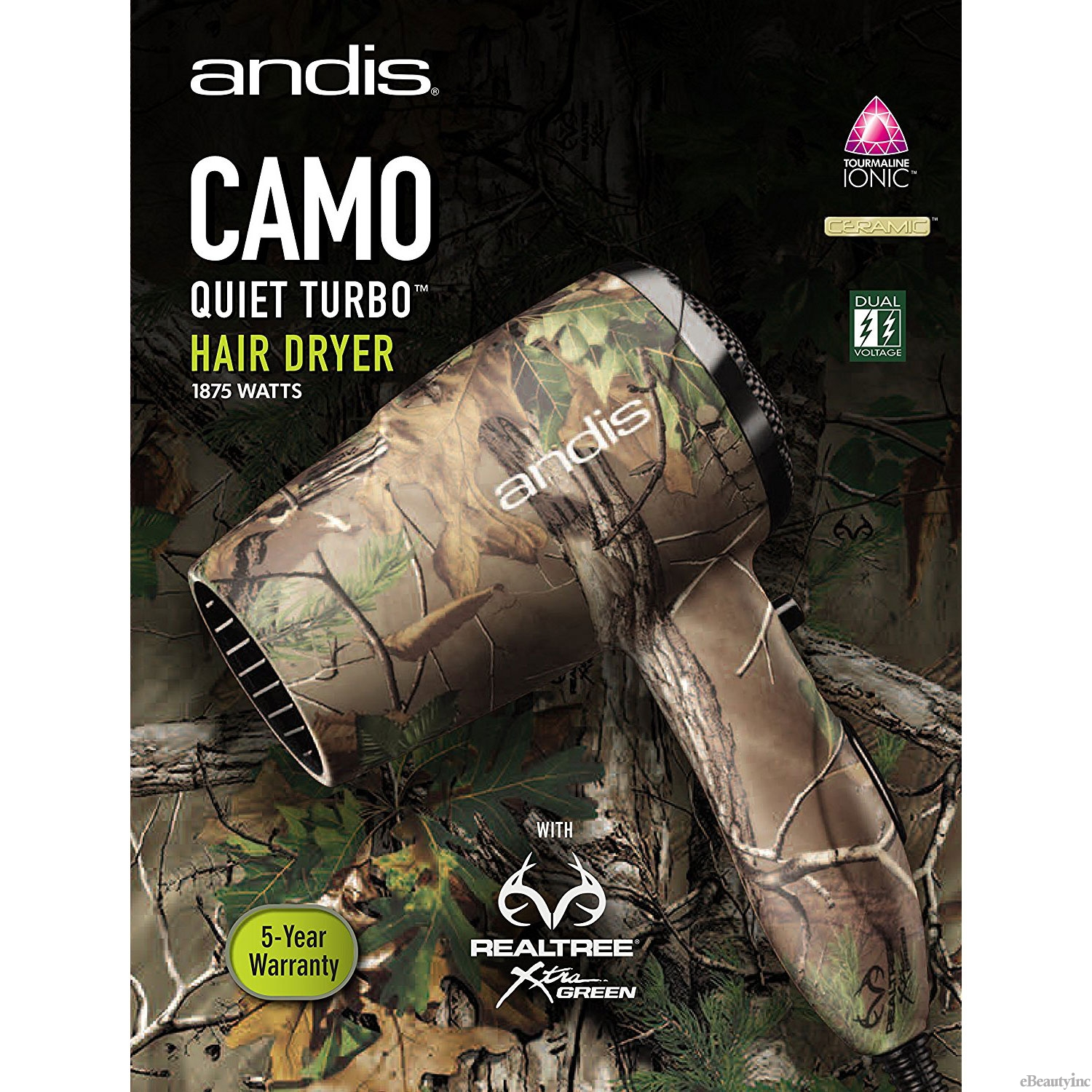 Image of Andis Camo Ionic 1875W Tourmaline Dryer