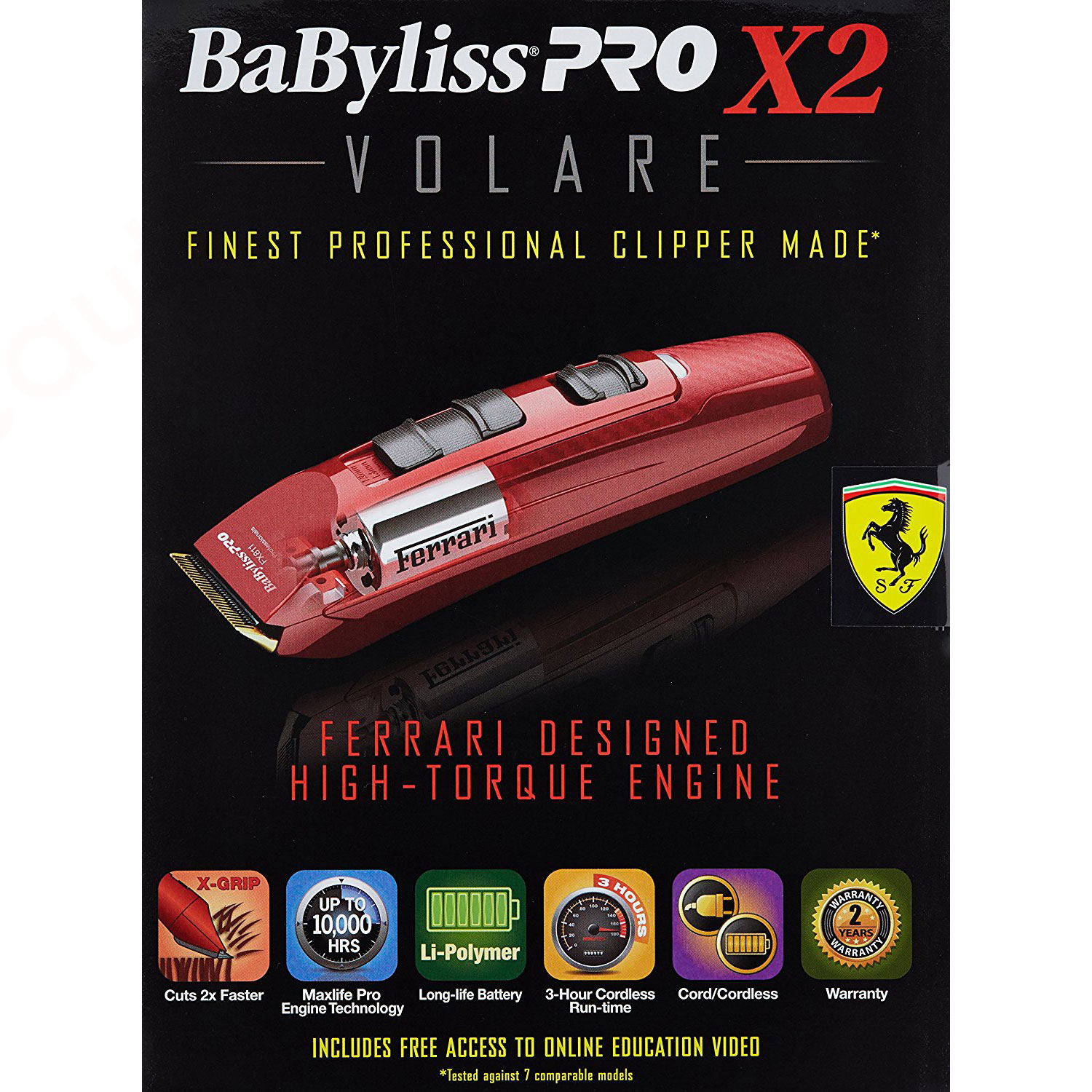 Image of Babyliss Pro X2 Red Ferrari Cordless Clipper #FX811