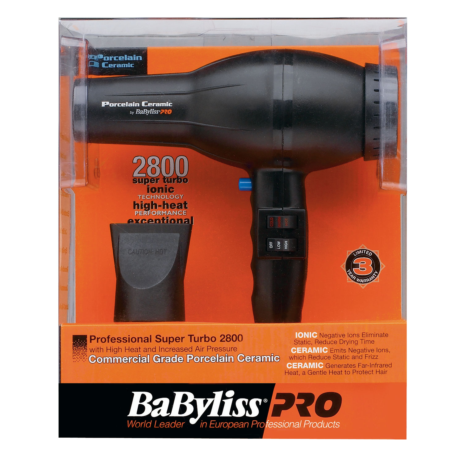 Image of BaByliss Pro Porcelain Ceramic 2800 Dryer #BP2800