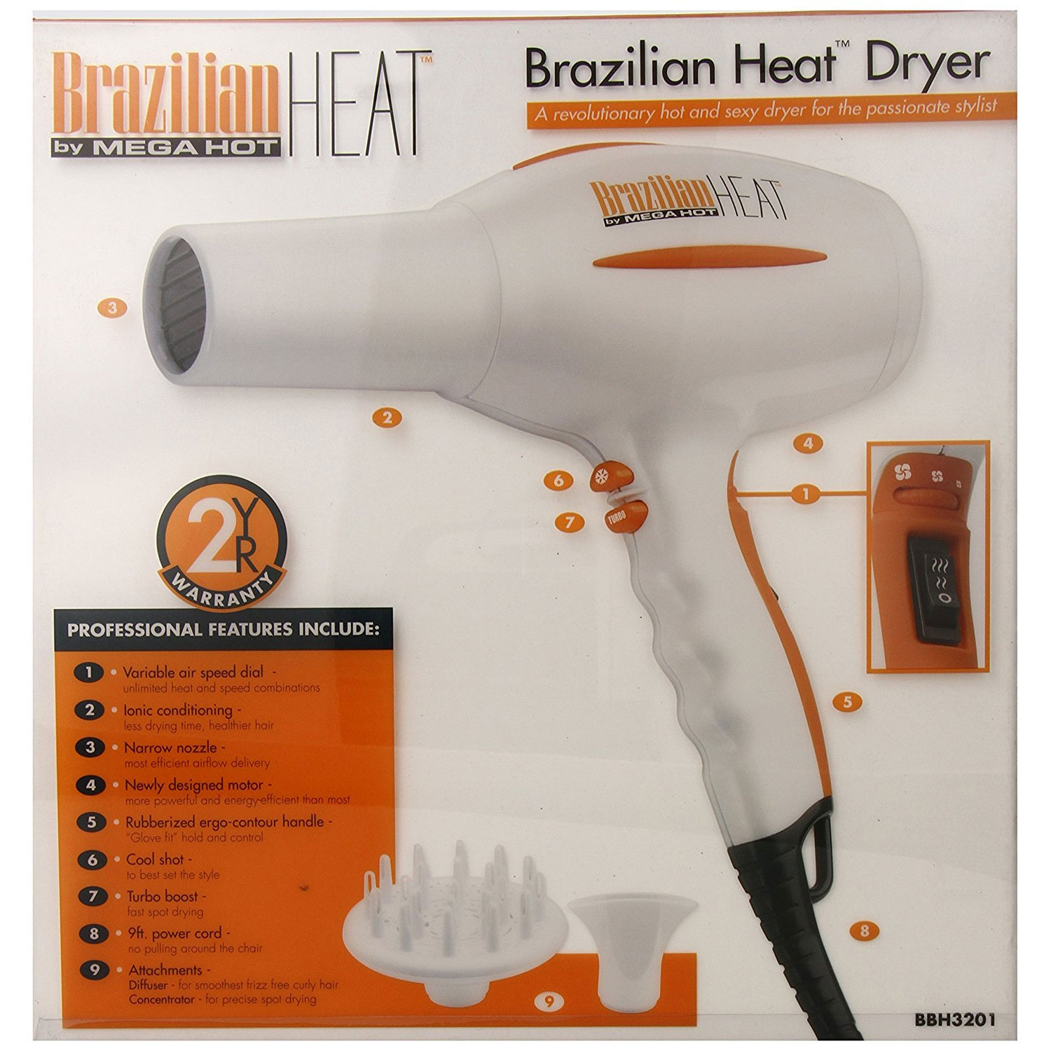 Image of Belson Brazilian Heat 1600W Ceramic Ionic Hair Dryer #BBH3201
