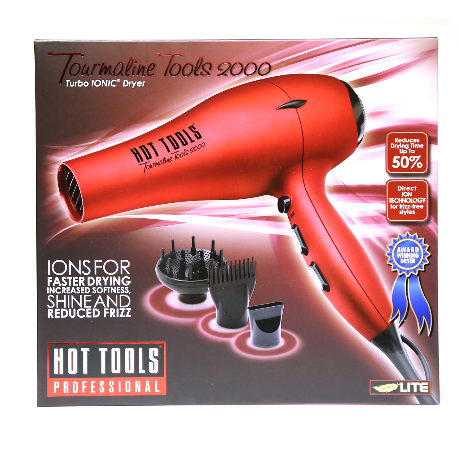 Image of Hot Tools Red Tourmaline Tools 2000 Turbo Ionic Hair Dryer #1043RD