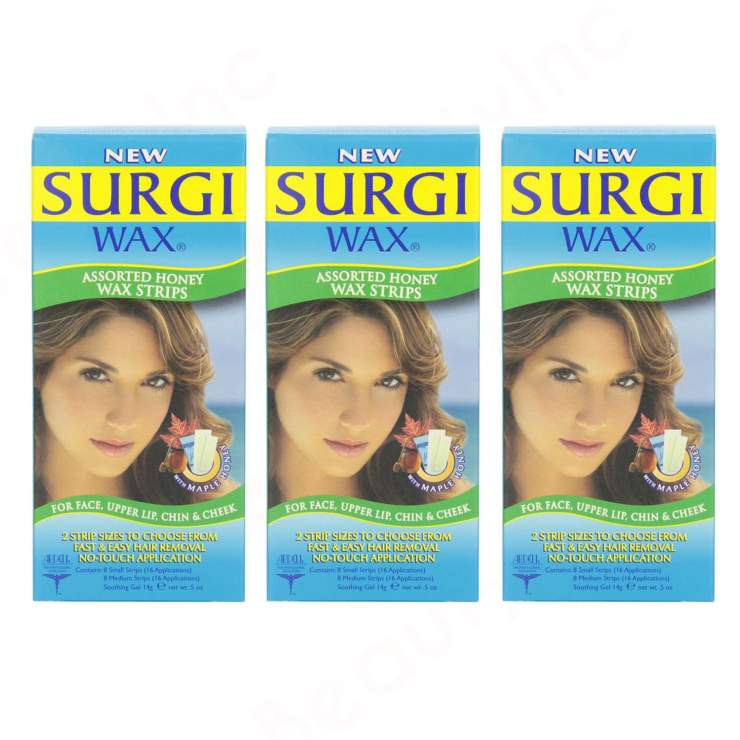 Image of Surgi-wax Assorted Maple Honey Wax Strips For Face Upper Lip, Chin & Cheek 3pk