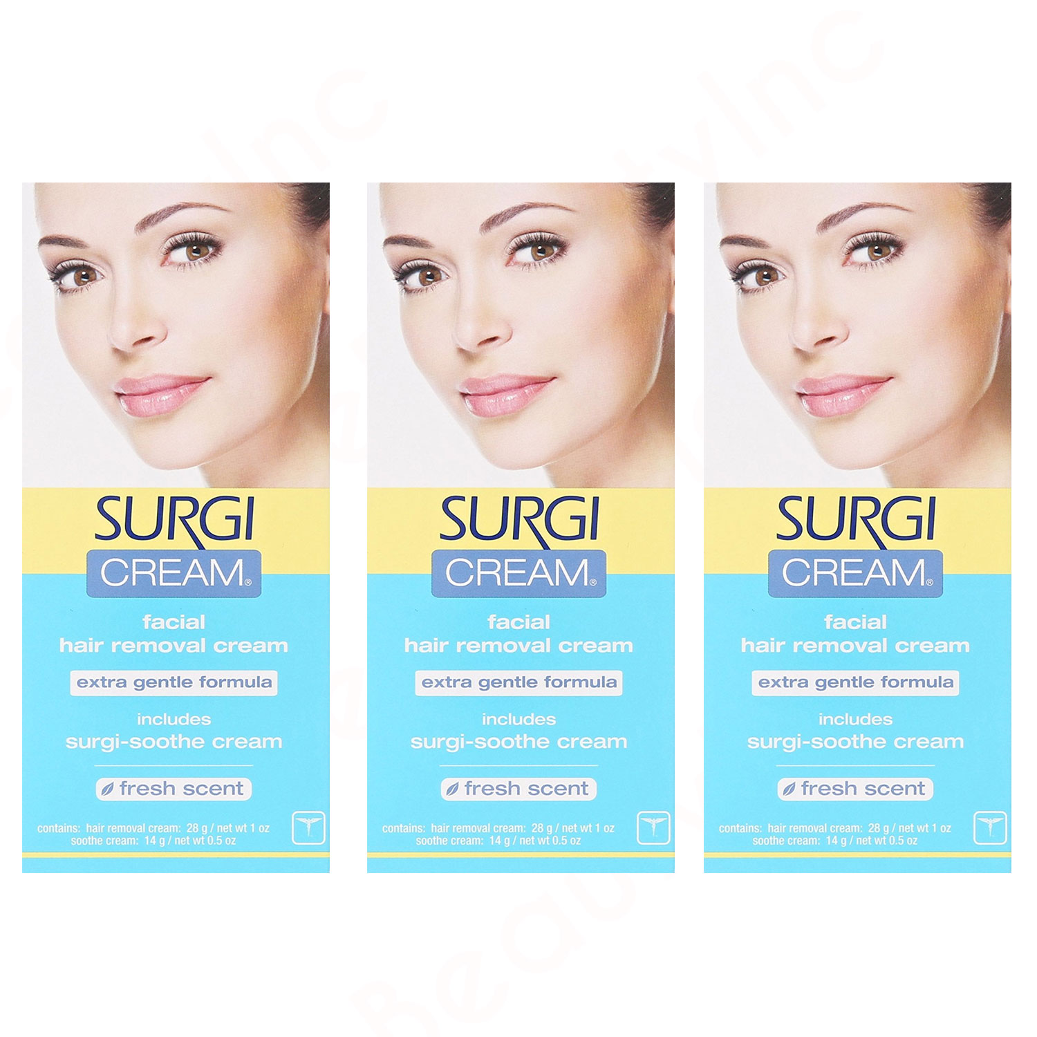 Image of Surgi-cream Hair Remover Extra Gentle Formula For Face - 3pk